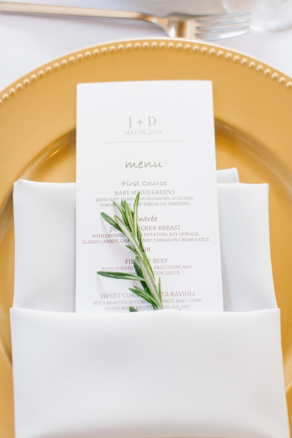 A little rosemary added a fresh vibe to these place settings!