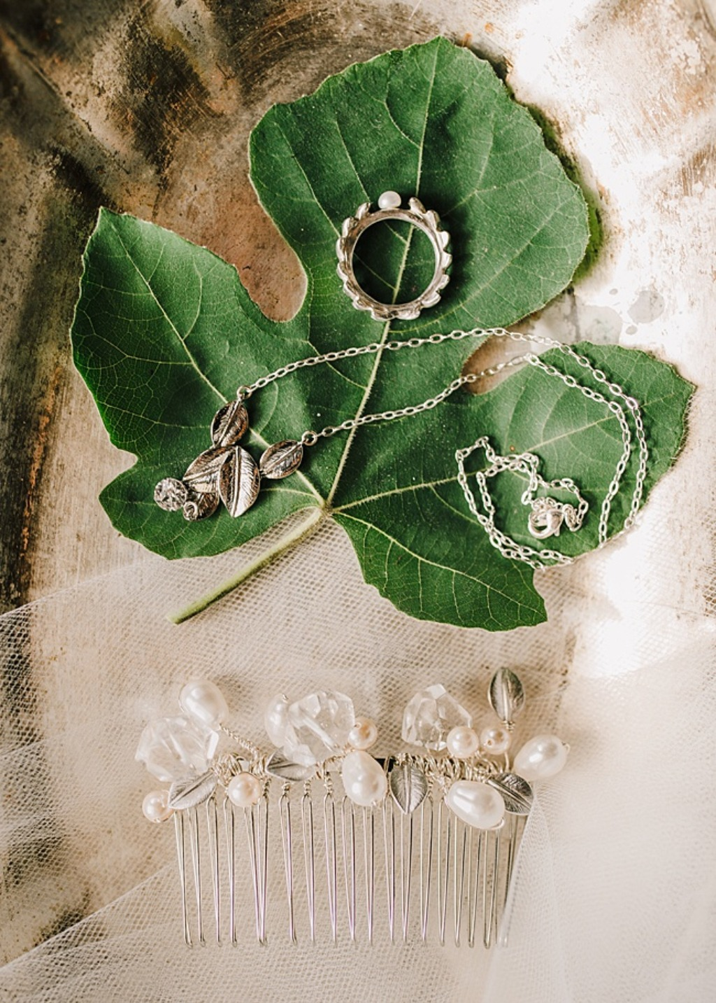 Vintage meets modern in this industrial Shakespeare-inspired bridal feature with custom bridal jewelry & hair piece.