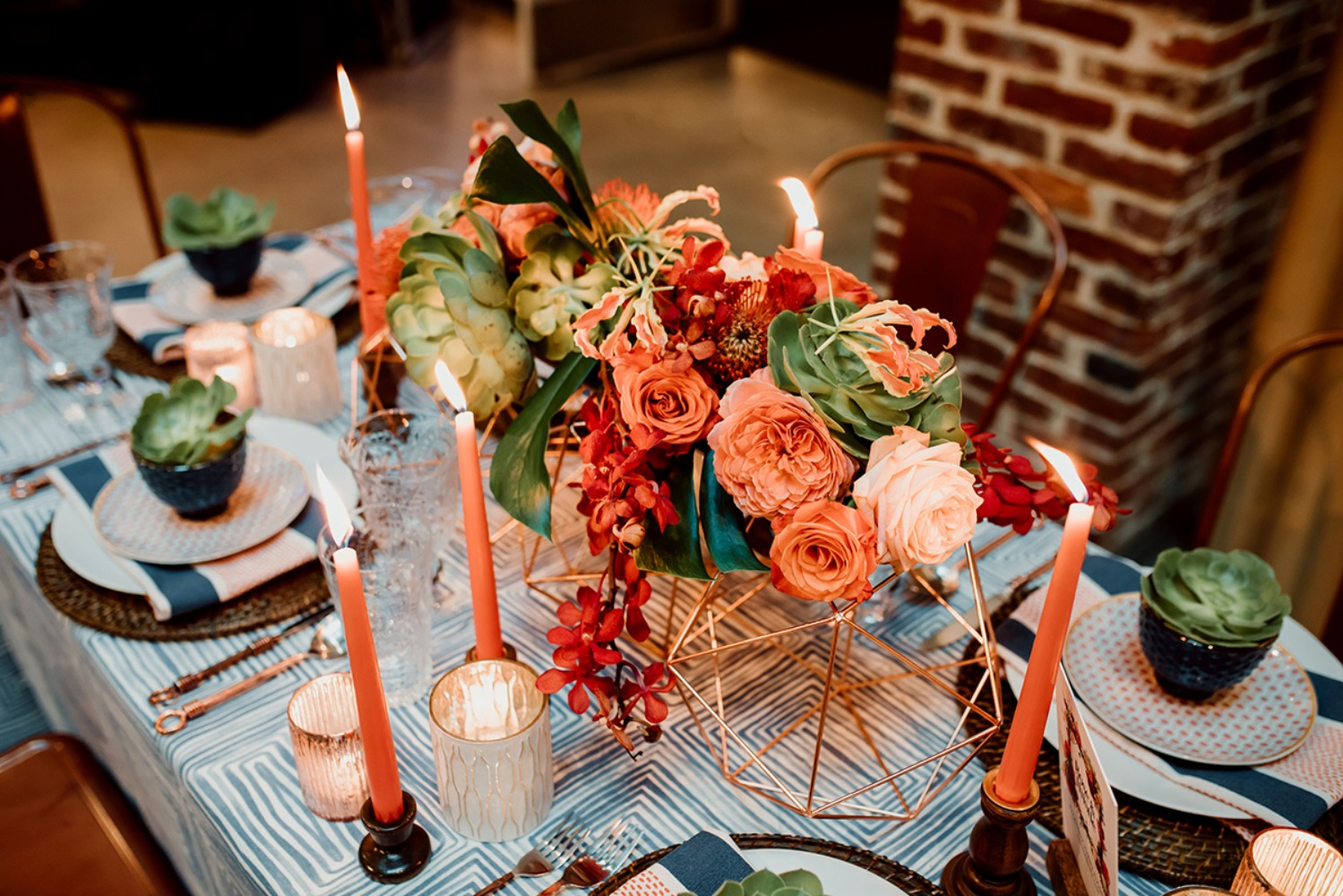 coral floral and succulent centerpiece