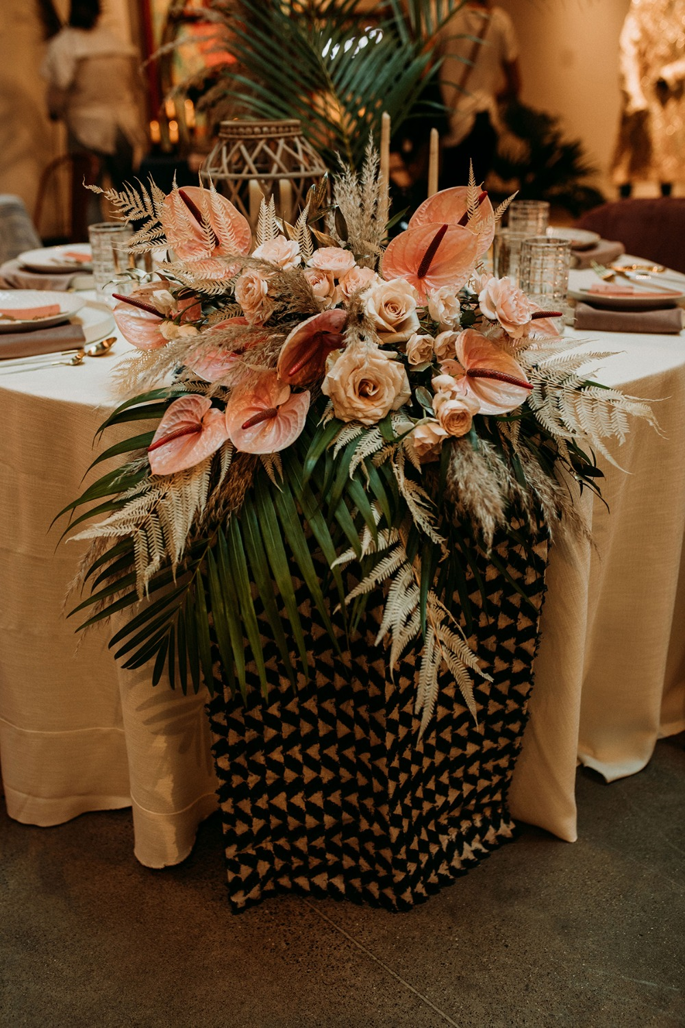 tropical themed wedding centerpiece
