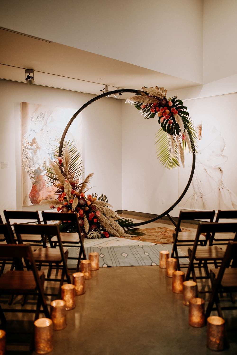 modern tropical themed wedding ceremony decor