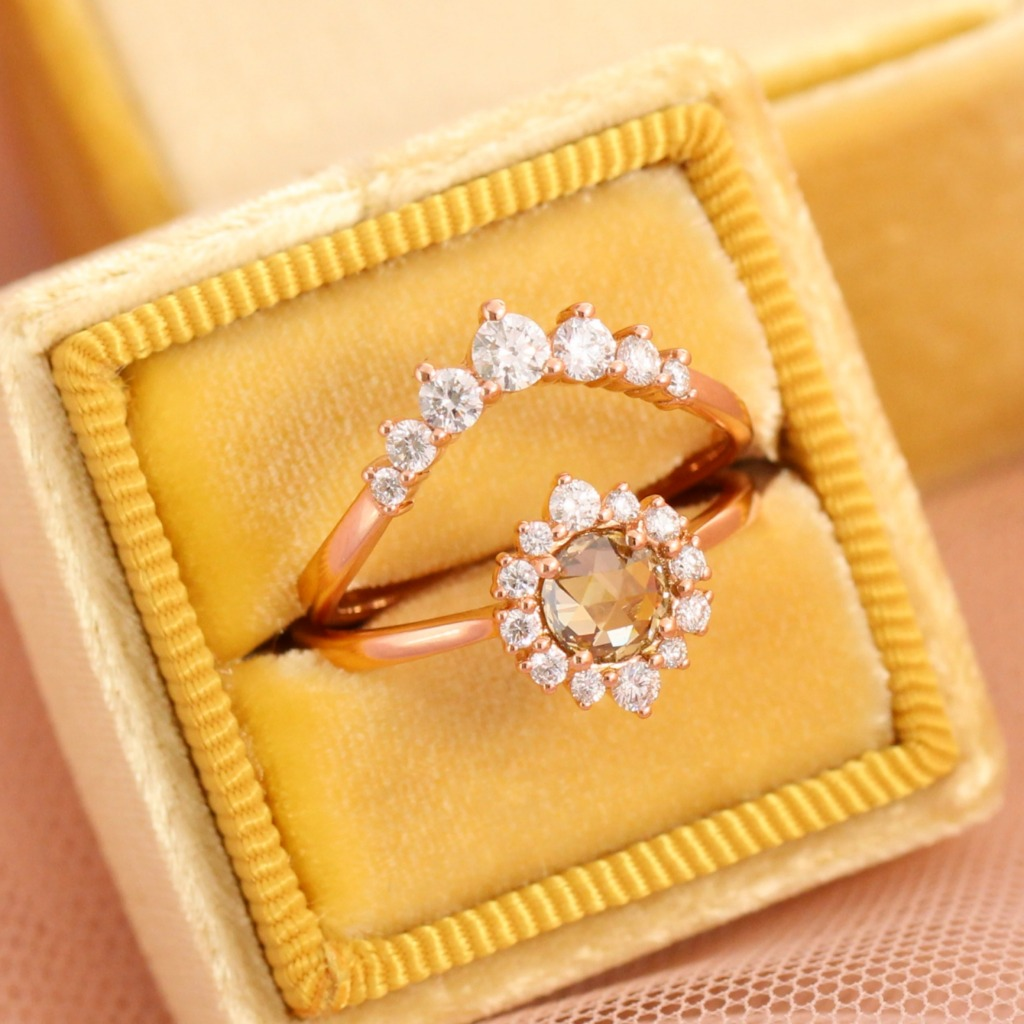 Breathtakingly beautiful rose cut champagne diamond engagement ring in tapered shank is crafted in 14k rose gold tiara halo diamond