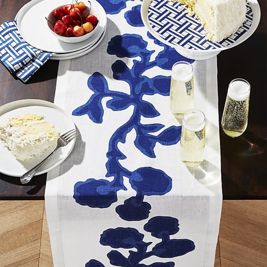 Crate and Barrel Reese Witherspoon Indigo Vine 90'' Table Runner