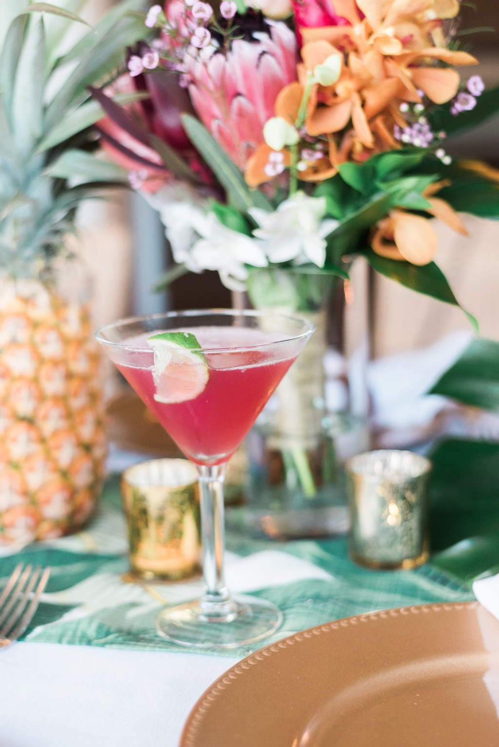 Tropical cocktail detail from this gorgeous Hawaii real wedding on the island of Kauai! You can see more tropical island wedding inspiration
