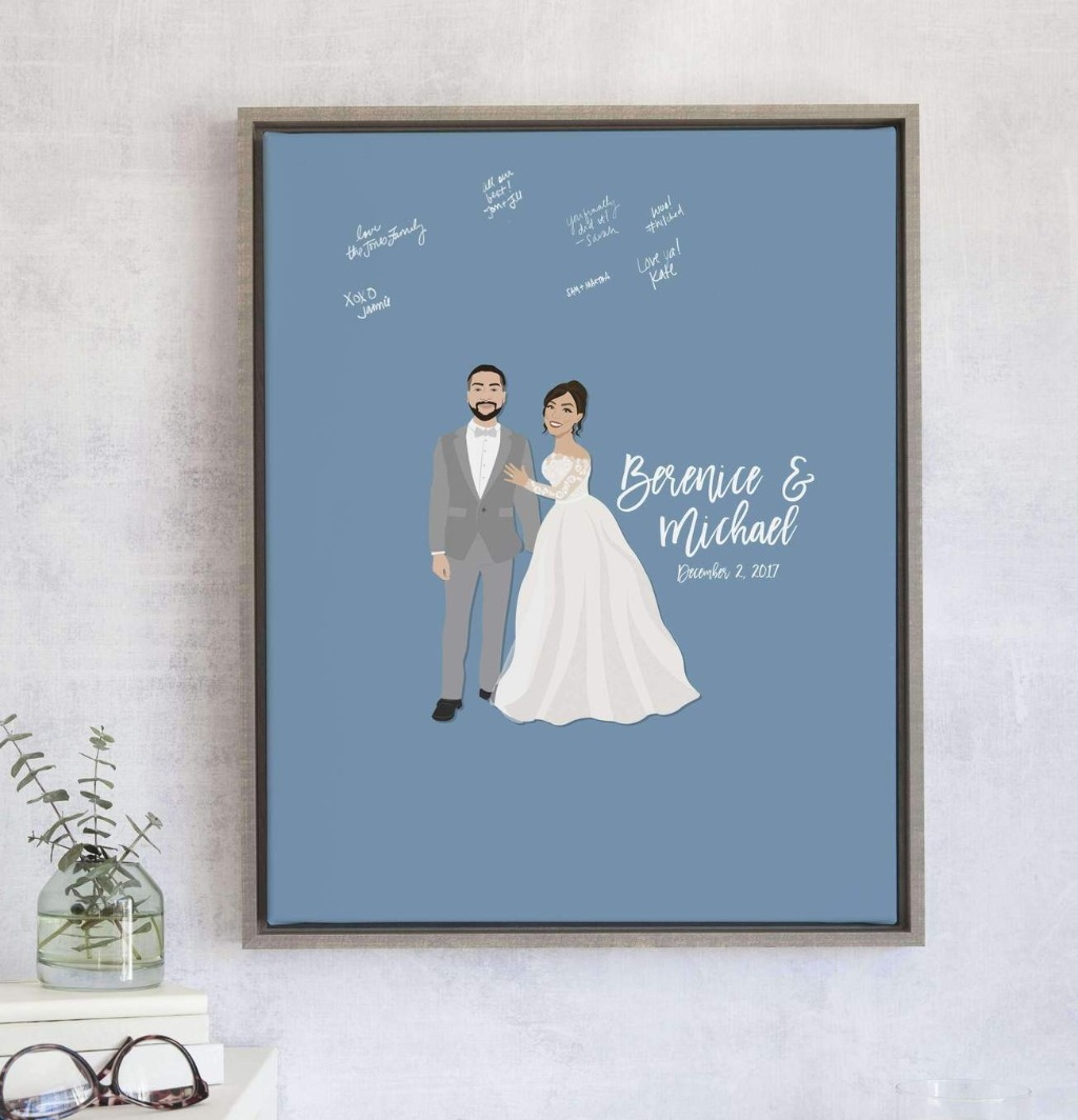 If you love The Penny design but want a little something extra, the Wedding Portrait Guest Book Alternative with custom colored background