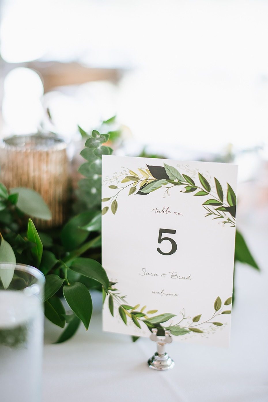 Greenery table number for wedding