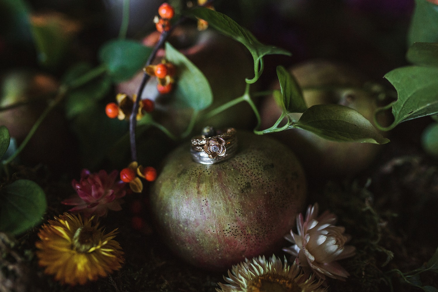 wedding rings on a pomegranate