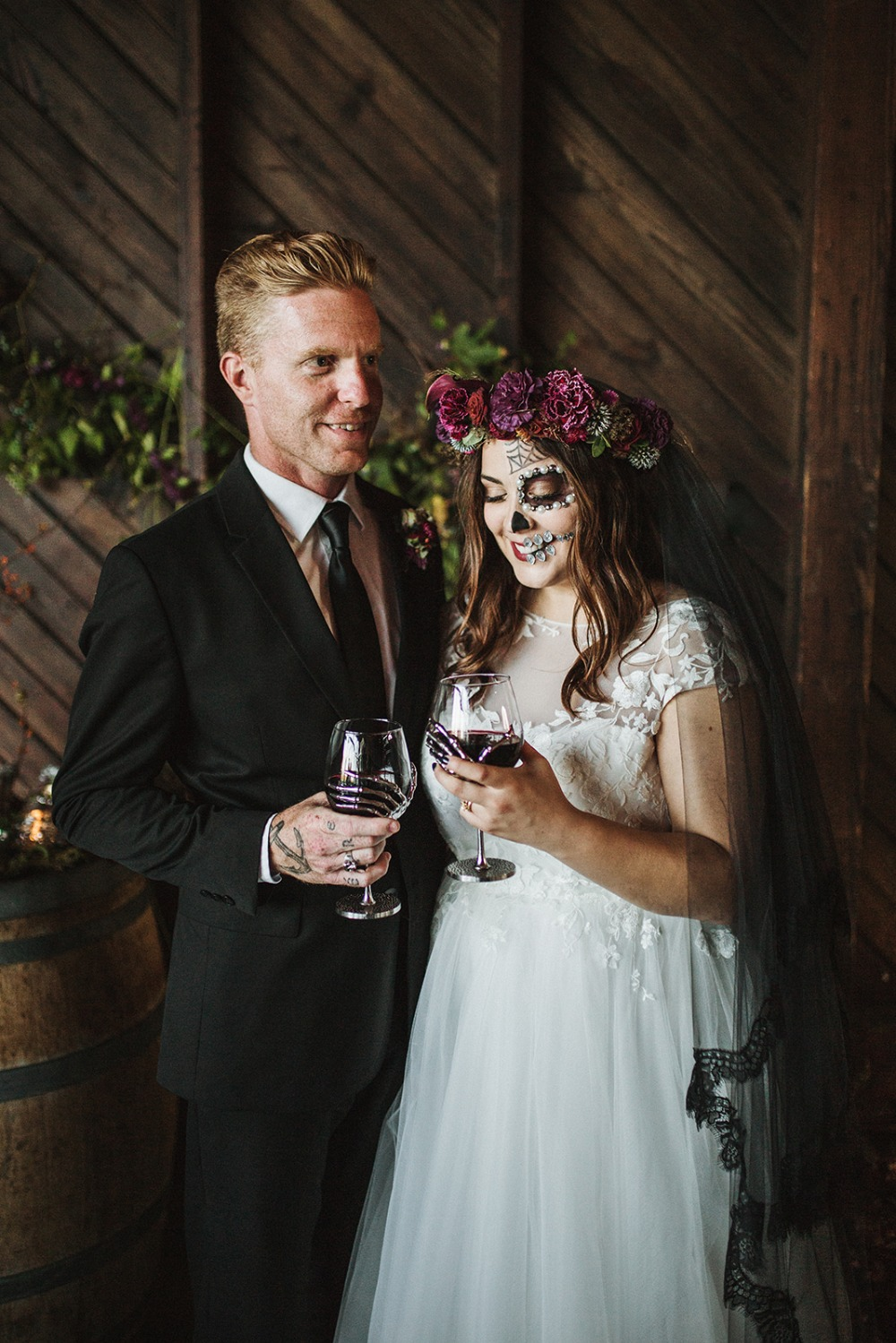 skeleton hand wine glasses