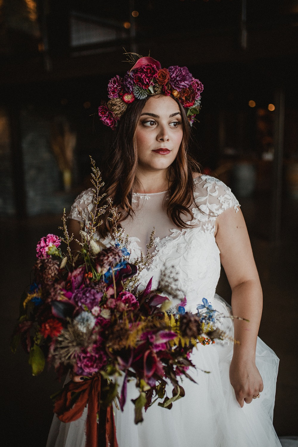boho flower crown bride look