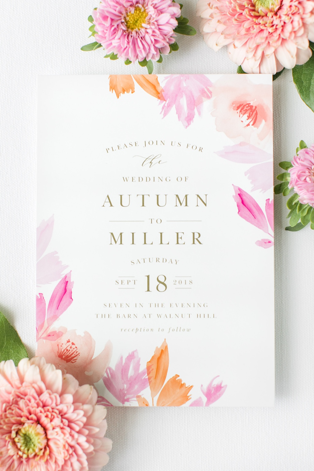 Leafy autumn wedding invitations available in 180 colors! Upload your color scheme for a truly custom design!