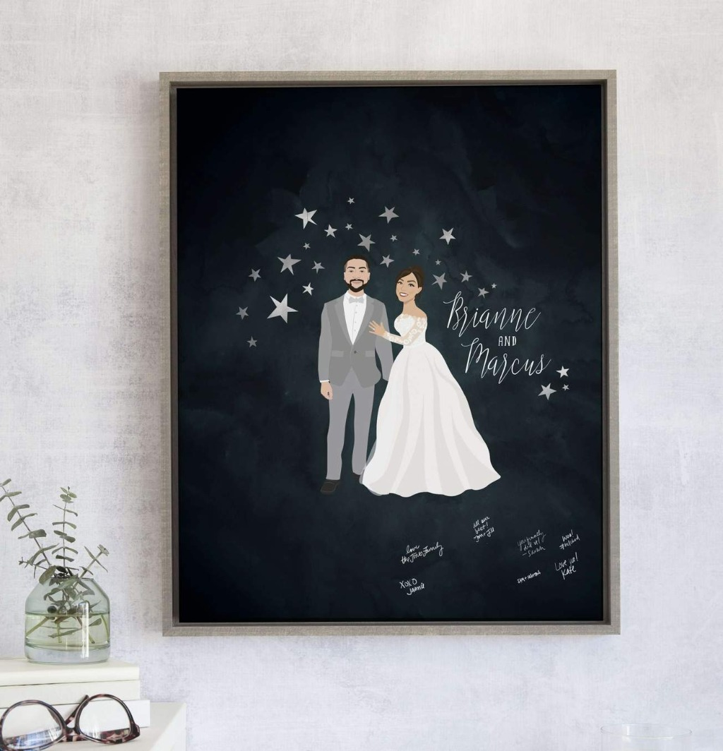 We love our Starry Night Wedding Guest Book Alternative with Portrait, and we're sure you will too!! It features your couple portrait