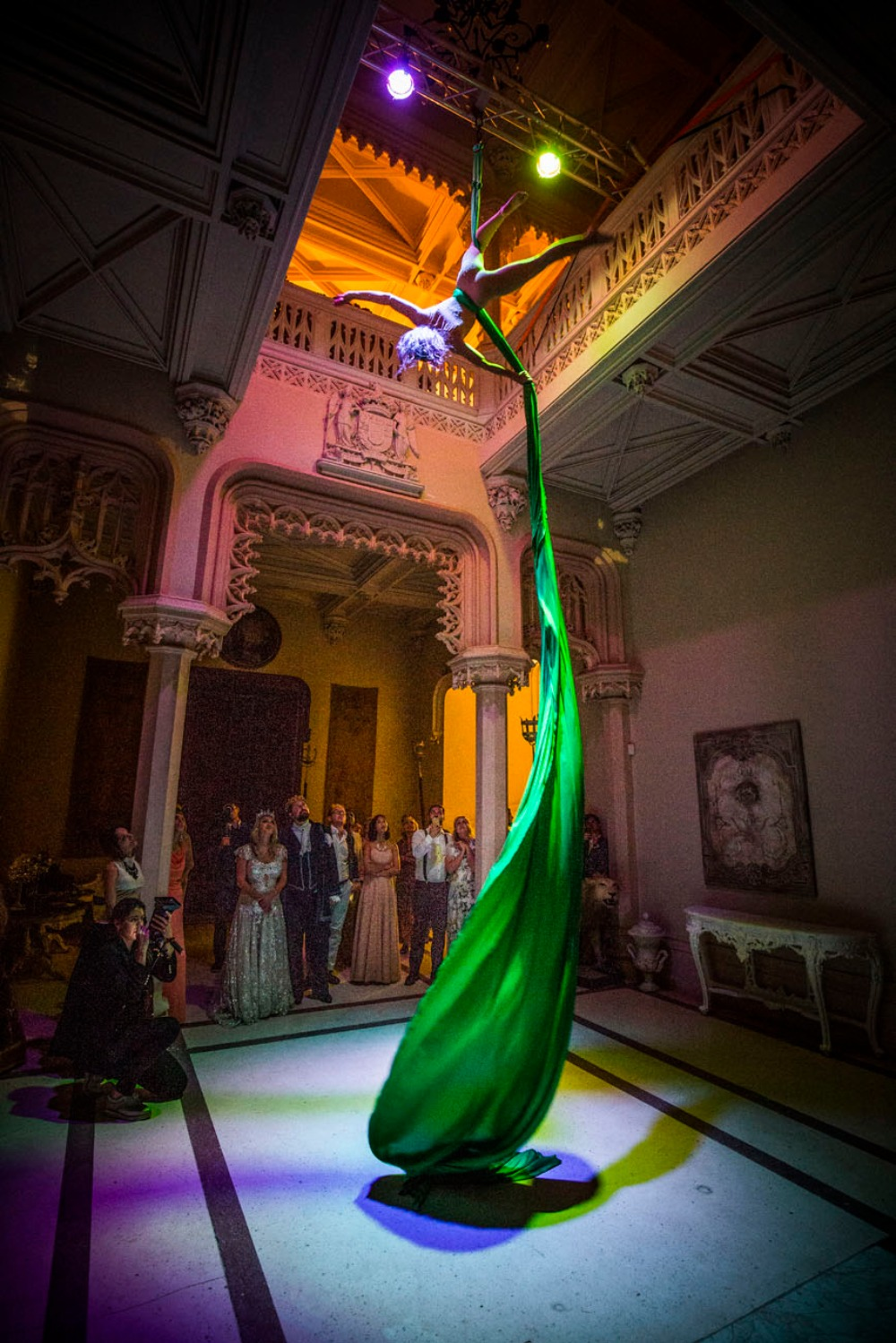 Aerial silks performance at a wedding