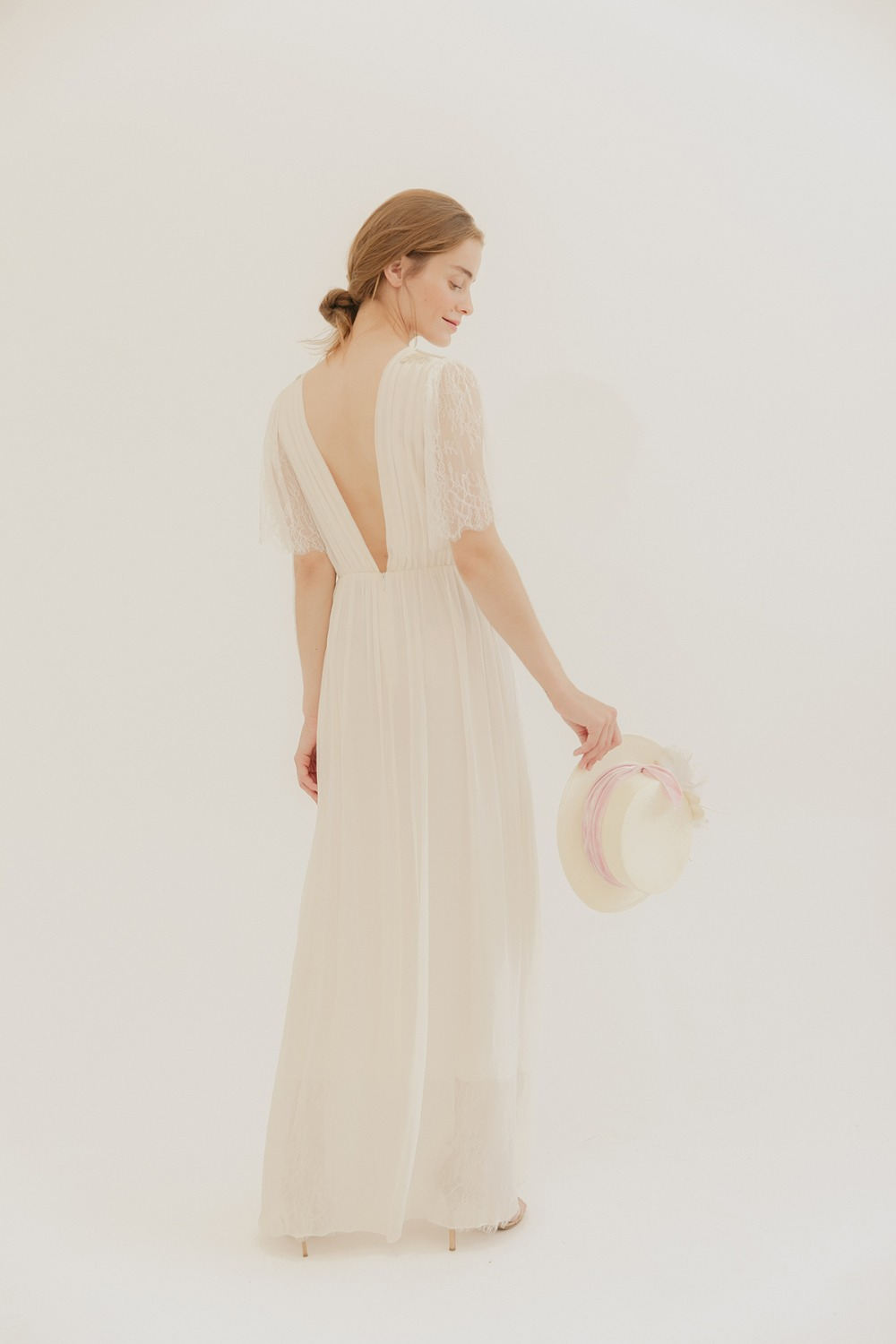 v backed wedding dress by L. Wells