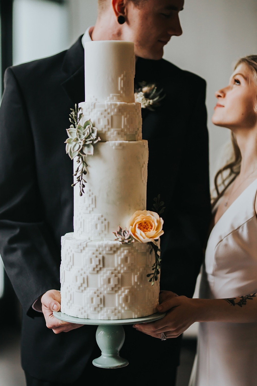 modern boho textured cake by Sewell Sweets