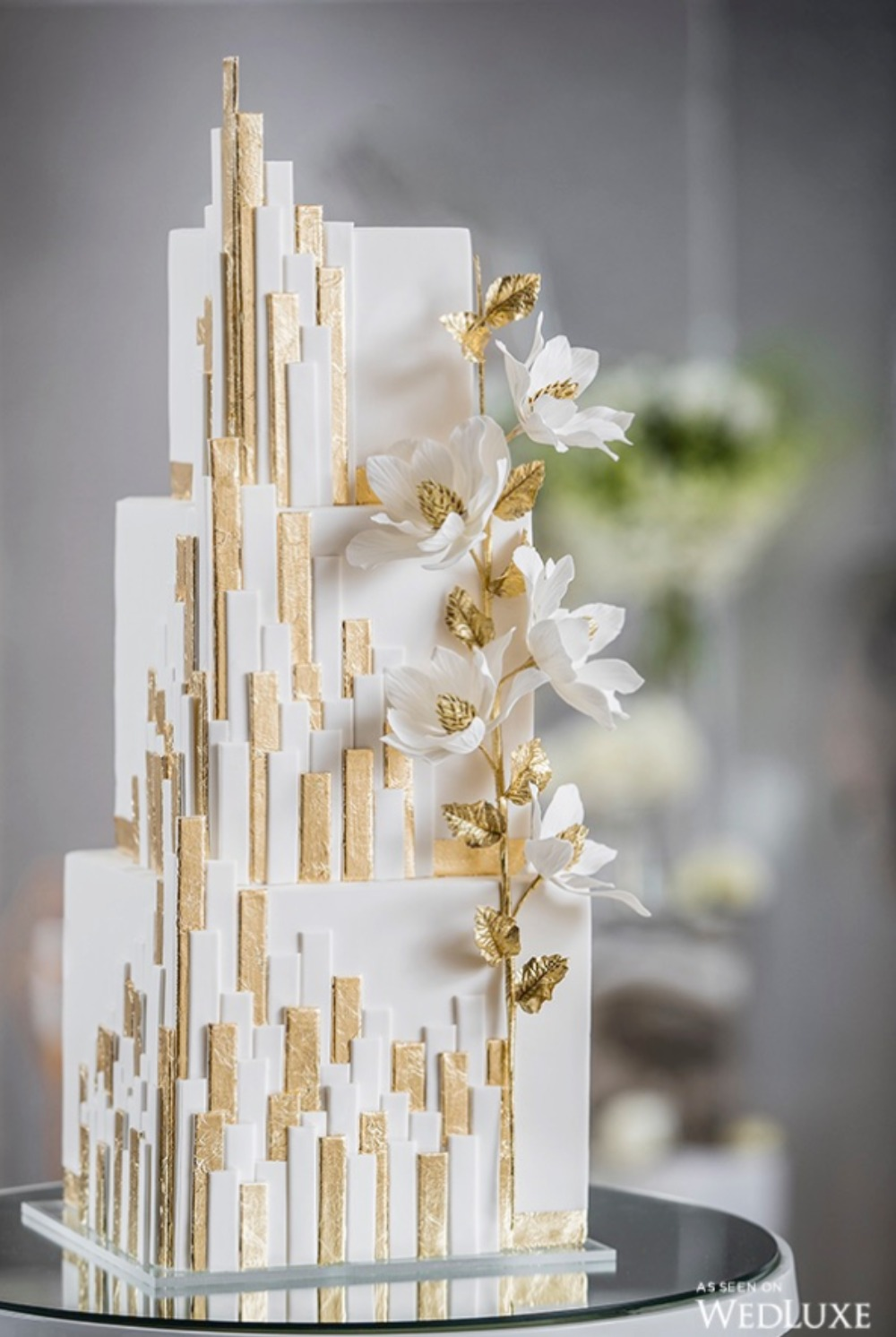 Modern Gold and White Cake by Dolcevita Cakes