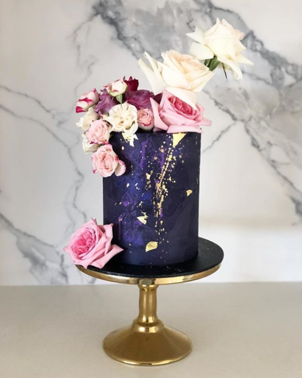 purple and gold cake by Blonde Baking Mama