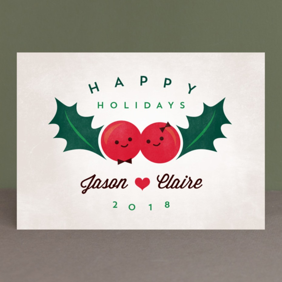 Happy holidays cute couple card