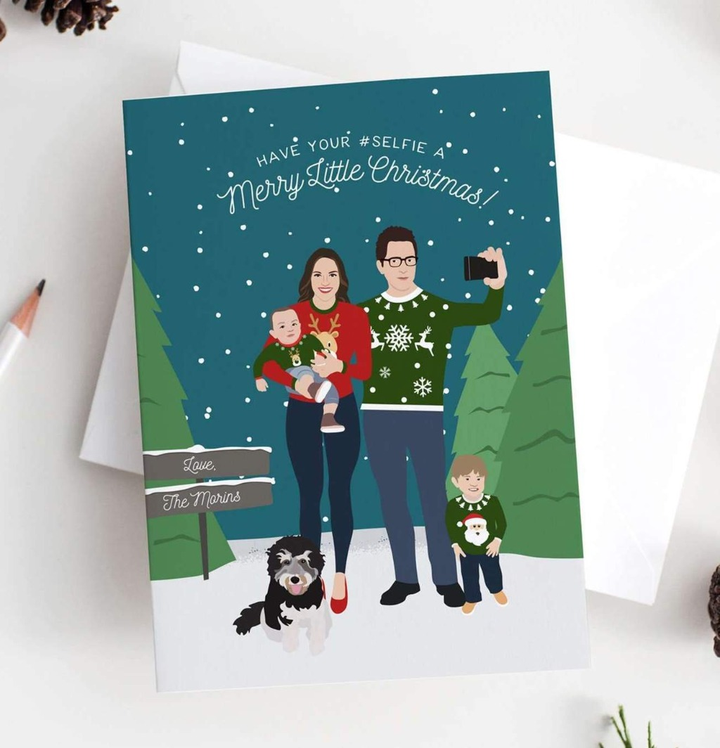 This absolutely adorable Holiday Card with Ugly Holiday Sweaters Family Portrait from Miss Design Berry features a custom portrait