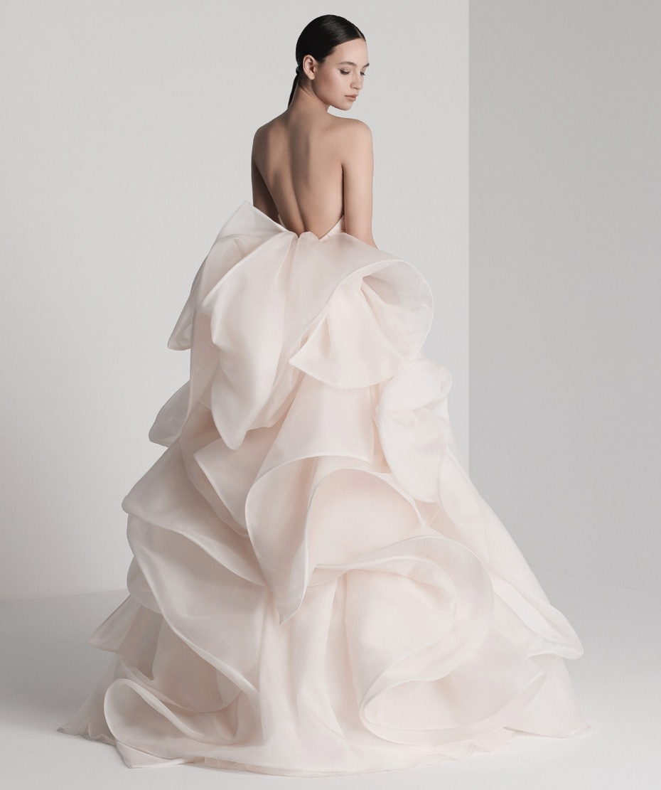 blush structure wedding gown with ruffles