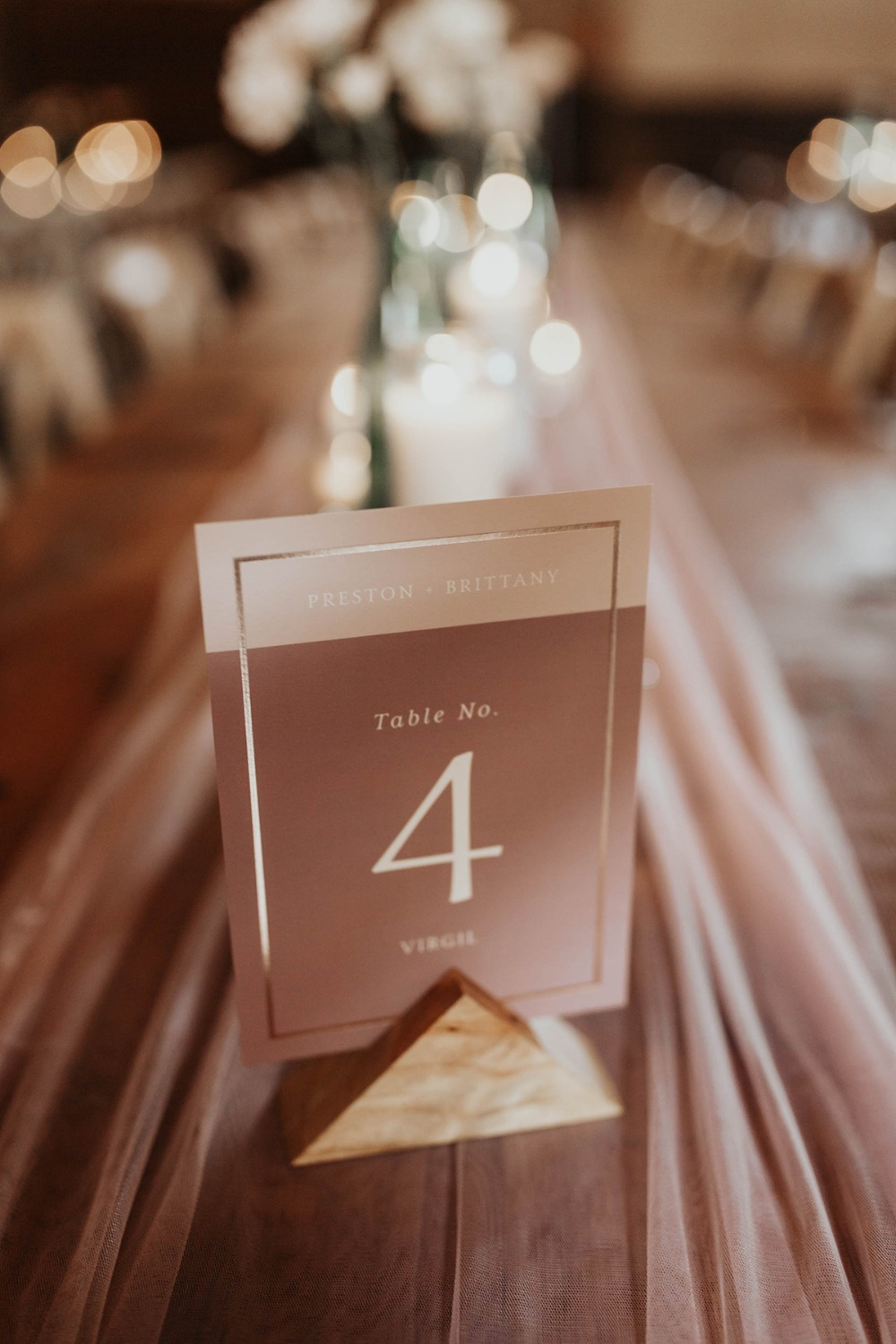 blush wedding table number