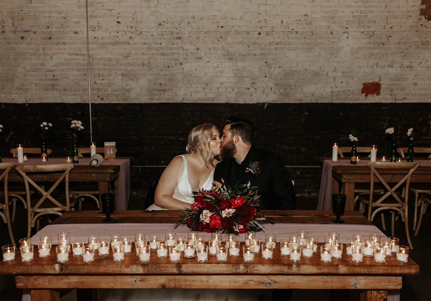 sweethearts at their candle lit sweetheart table