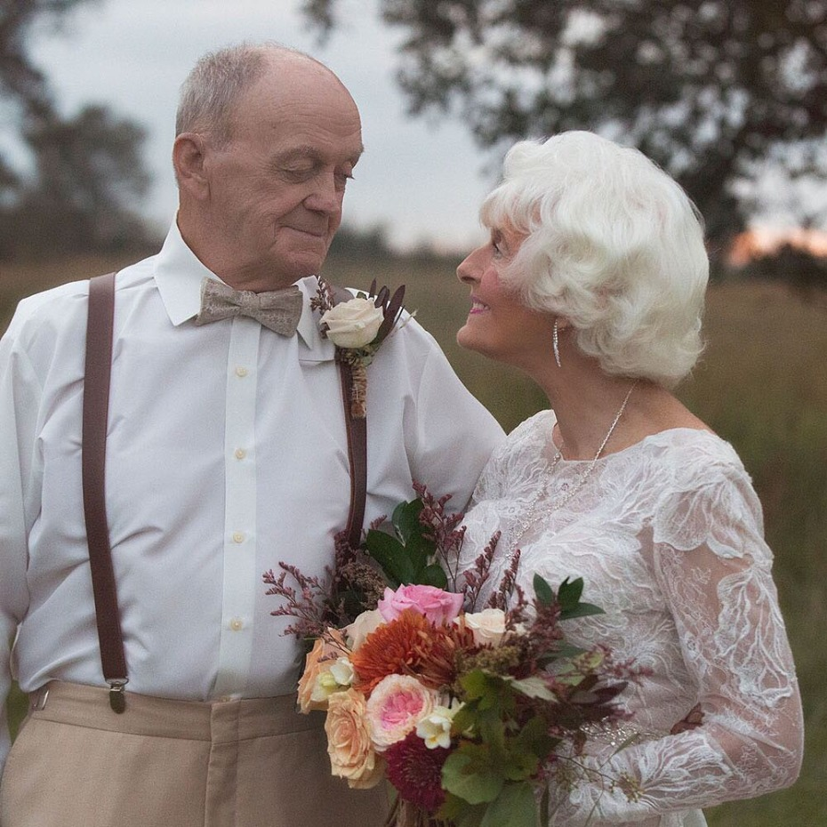 Vow Renewal Couple Married 60 Years Bride in Justin Alexander