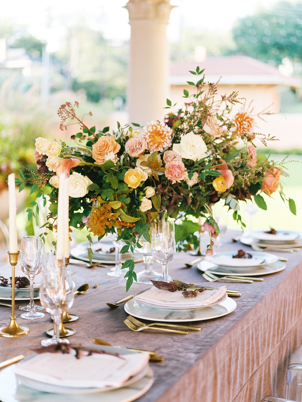 velvet and gold reception table