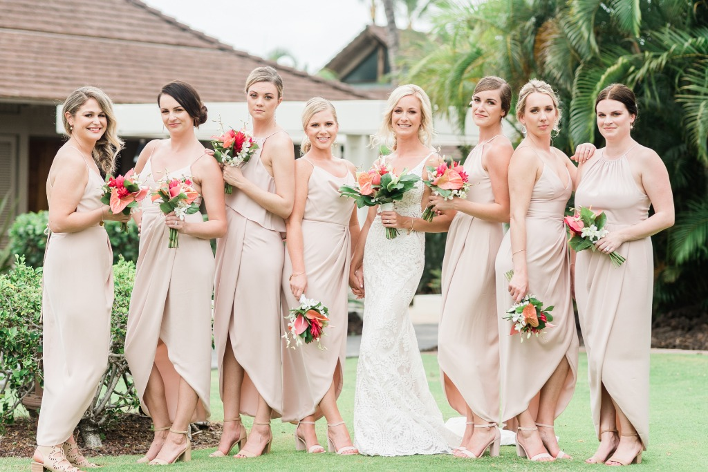Tropical Hawaii classy bridesmaids dresses with island style bouquets ideas! - From Kelsey and Drew's wedding on the Big Island in