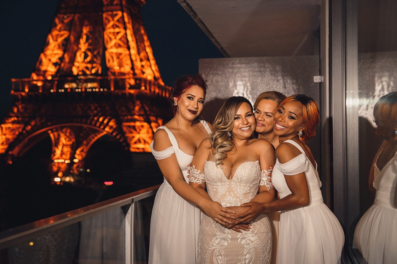 Bridesmaids in white in Paris