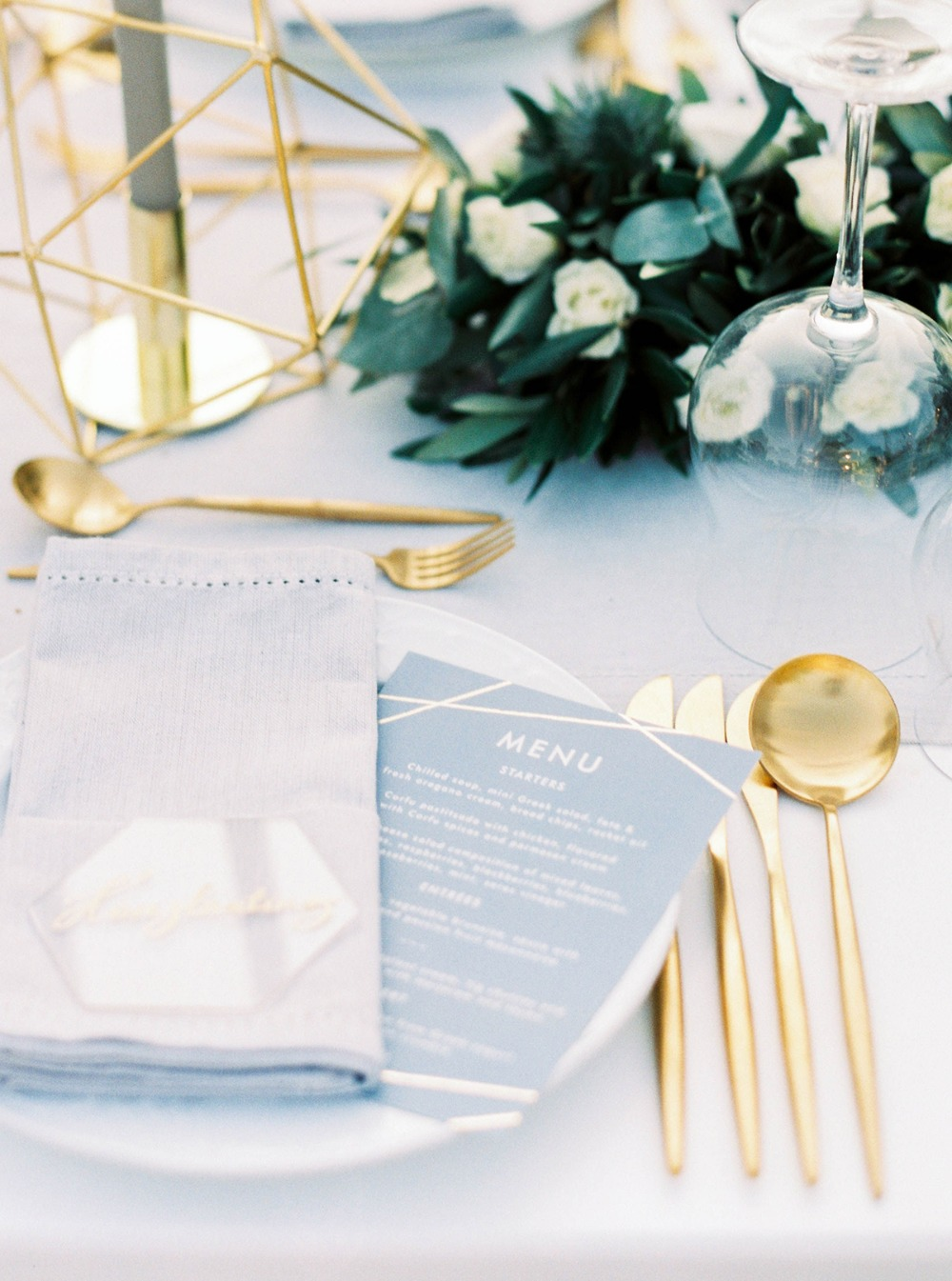 soft grey and gold wedding place setting