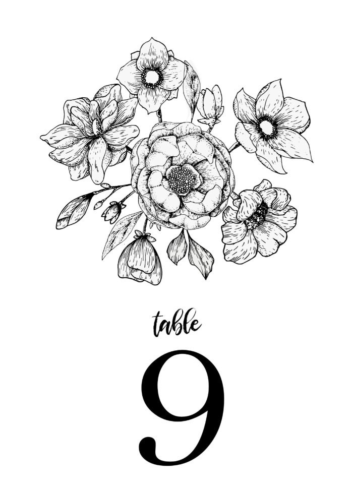 Print: The Botanical Invitation Suite Table Number