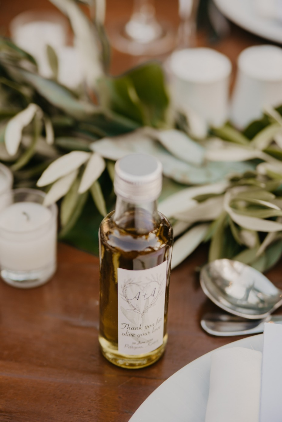 Olive oil wedding favor