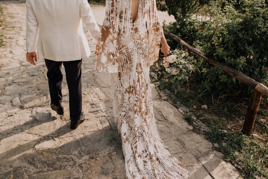 RUE DE SEINE wedding dress with fringe