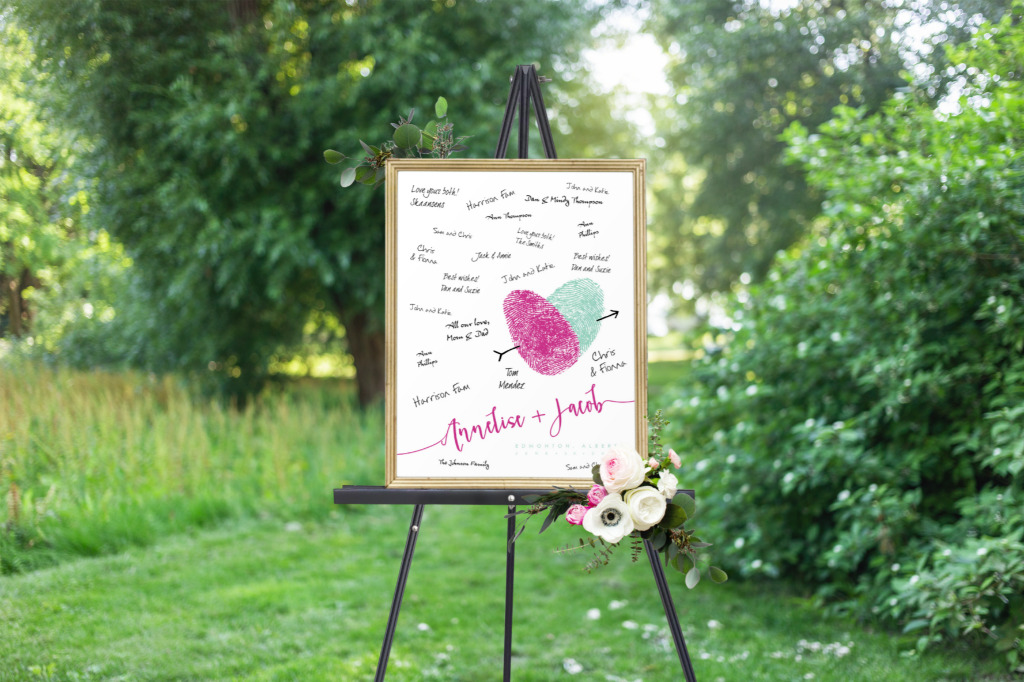 Something for your wedding that is truly unique. A guest book alternative that can be made with your own fingerprints. Pick your colors