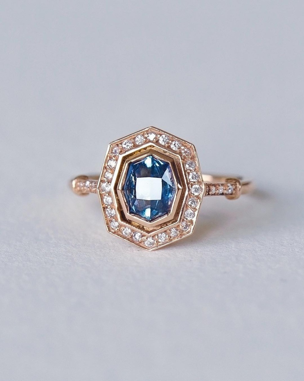 Vintage Art Deco Style Montana Sapphire Engagenment Ring One-Of-A-Kind by S. Kind and Co