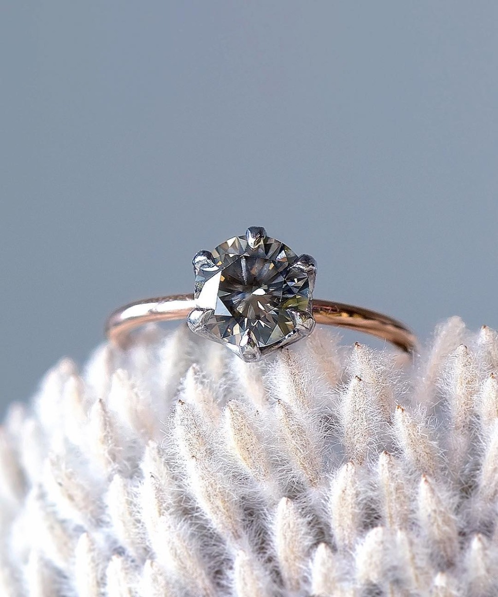 Amazing, Rare, and Dainty One-of-a-kind vintage colored grey diamond engagement ring in recyled rose gold and recyled platinum!