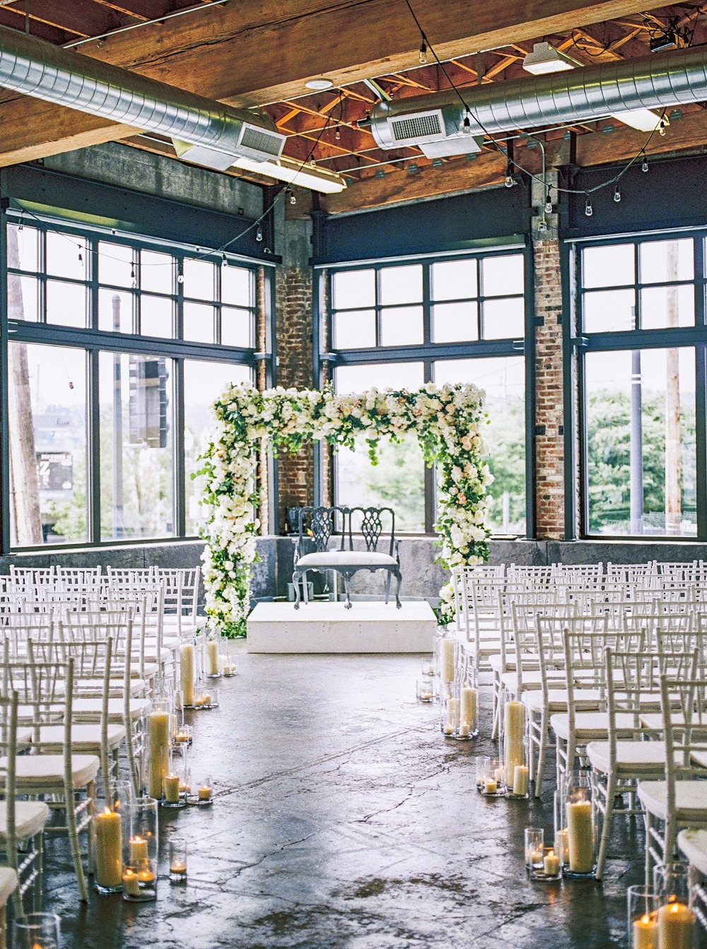 Industrial chic ceremony decor