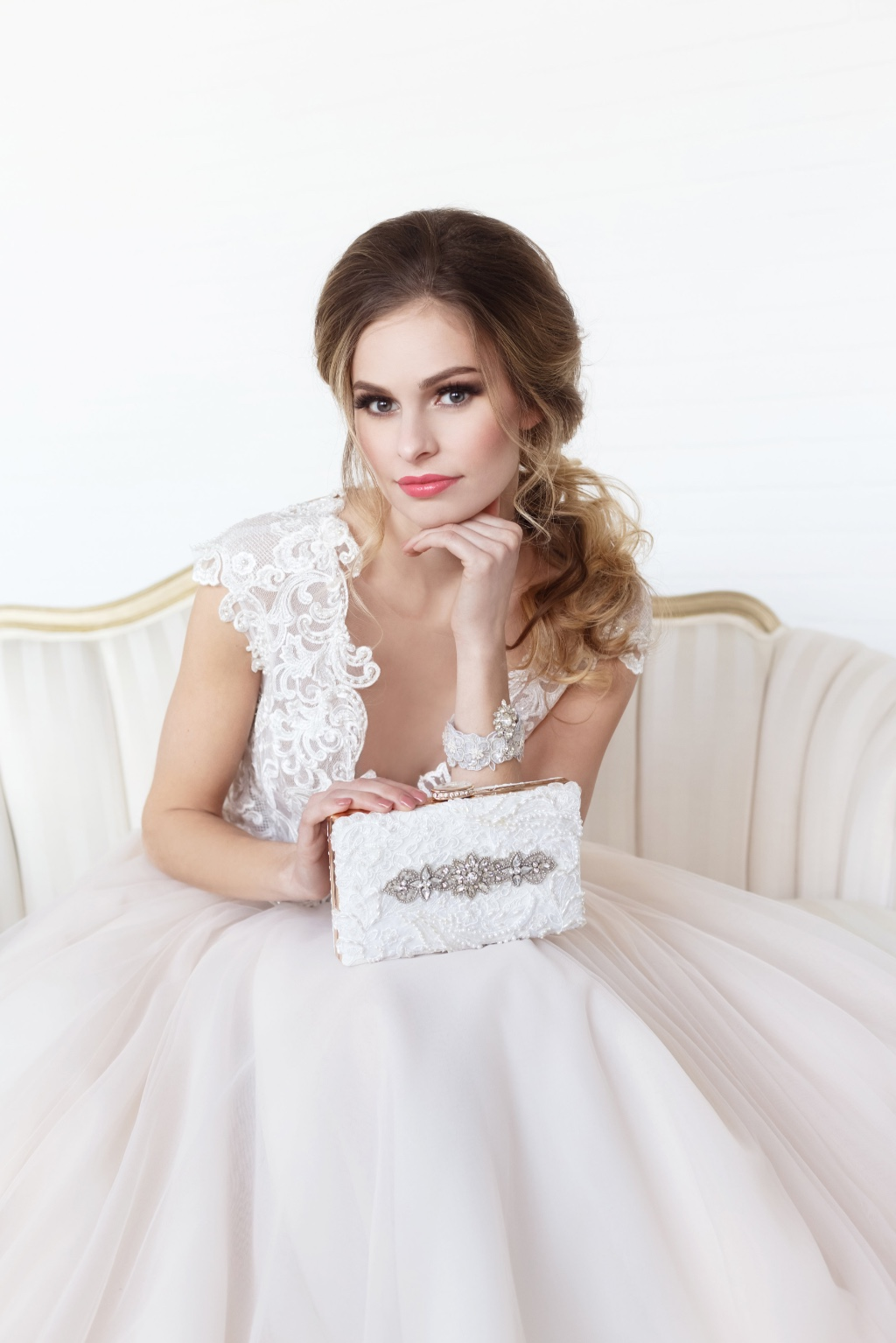 Finish your bridal look with a gorgeous one of a kind bridal clutch.