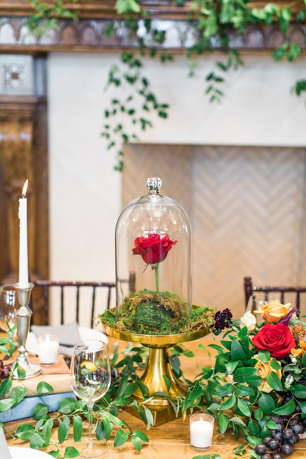 beauty and the beast themed centerpiece