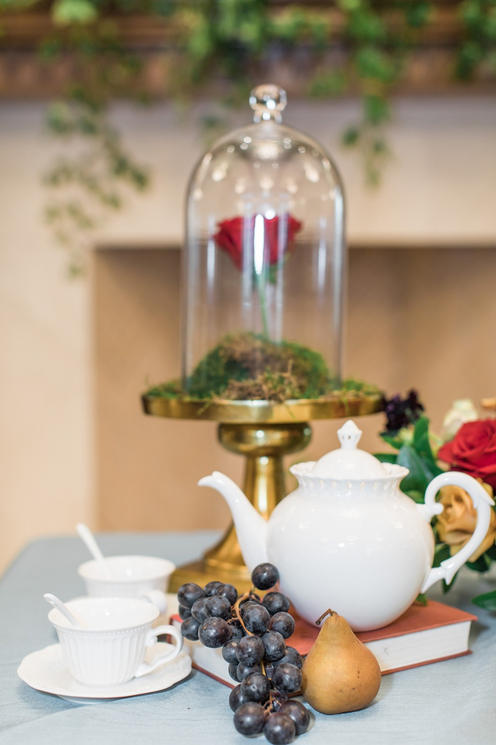 wedding with a subtle beauty and the beast theme
