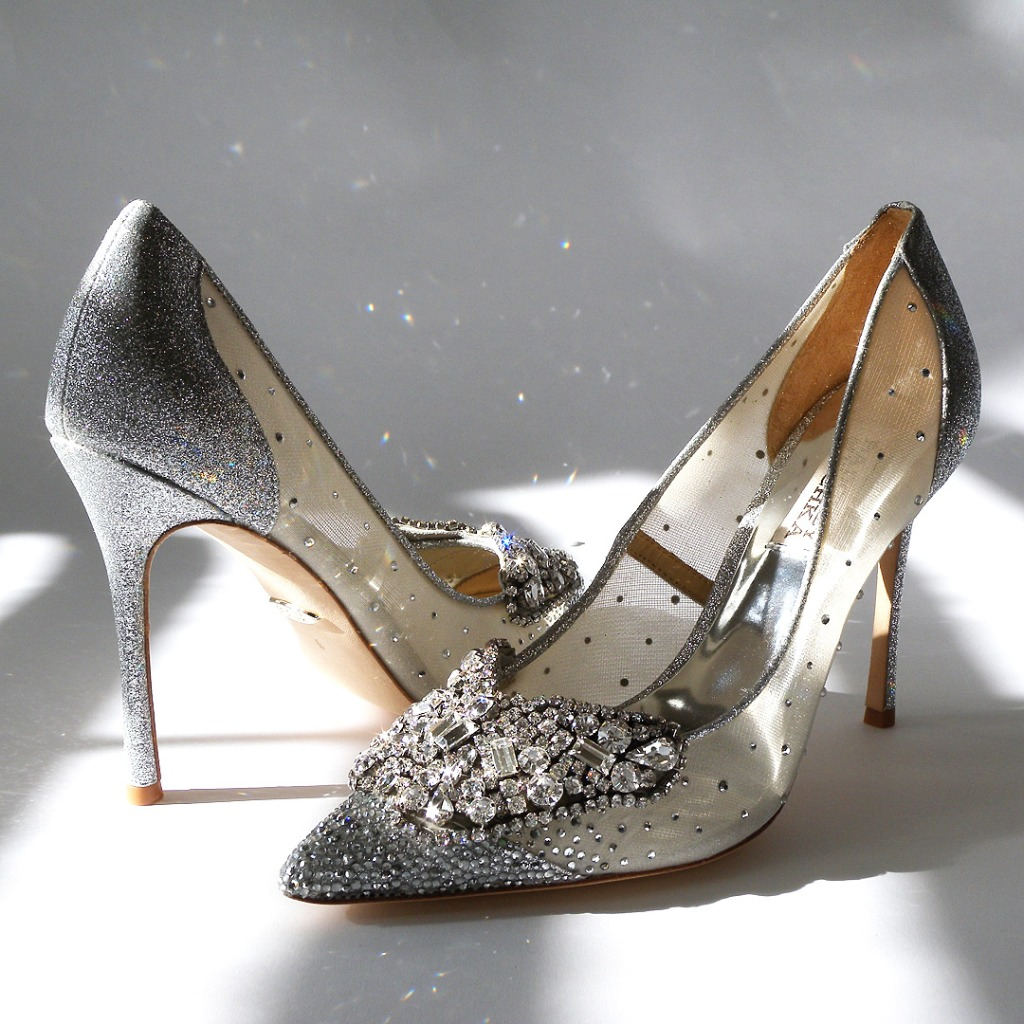 Badgley Mischka shoes that define sparkling shoes. Say hello to Quintana! Shown in silver, also available in ivory and as a flat.