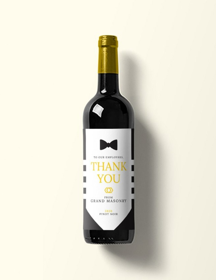 Print: Custom Black Tie Wine Label