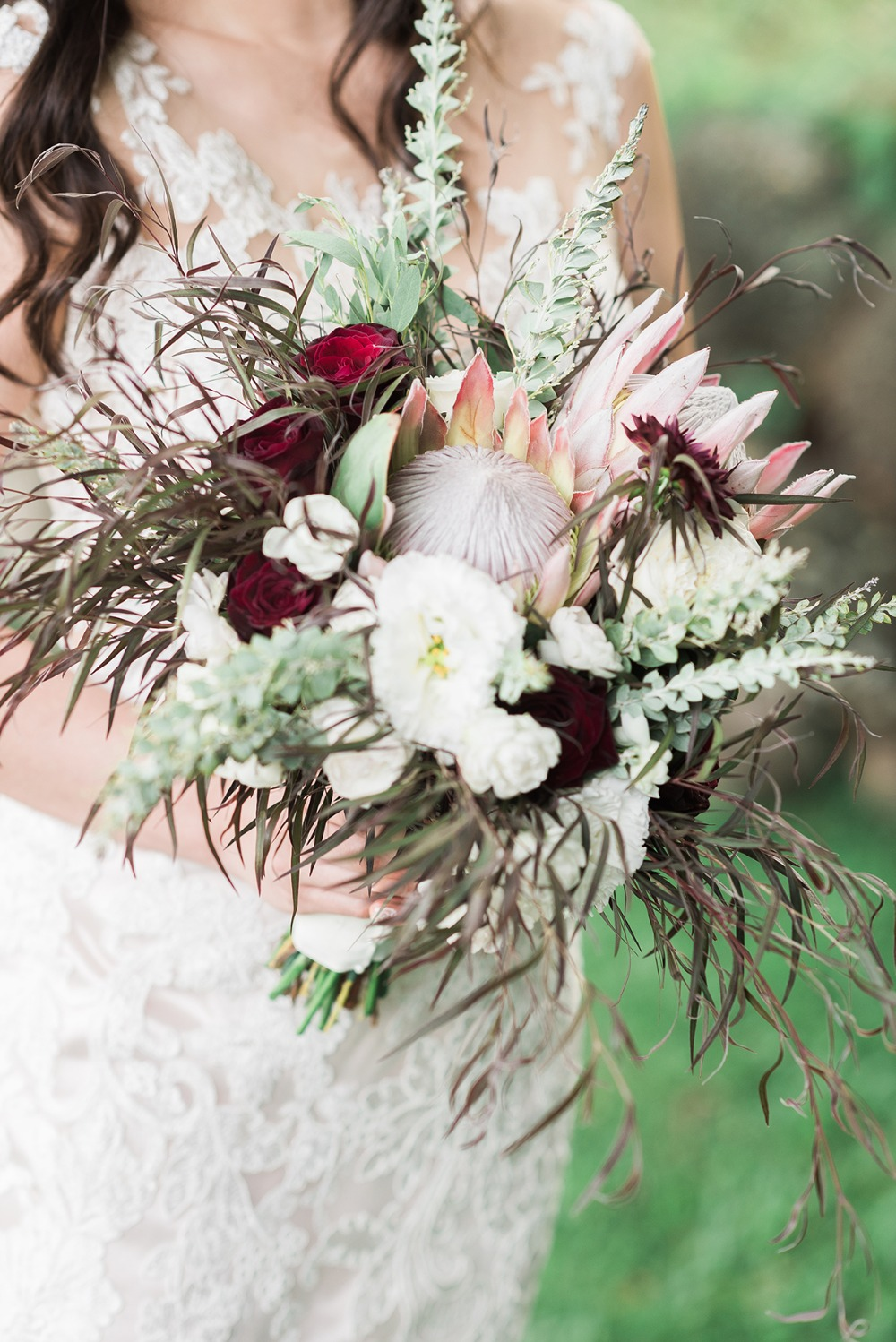 tropical pink white and burgundy bouquet