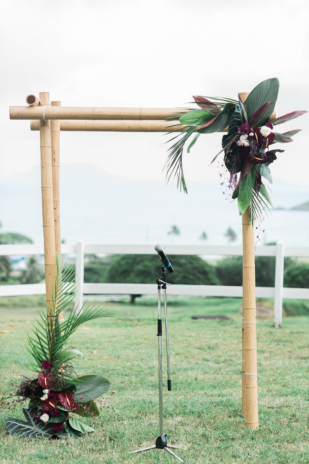 simple tropical floral wedding backdrop