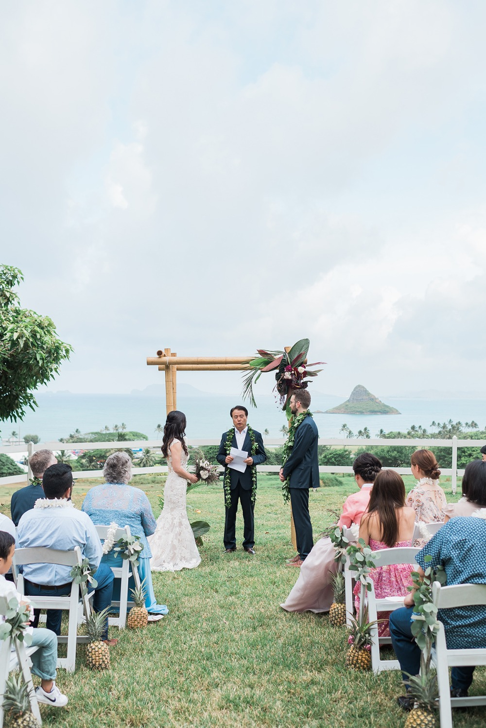 wedding couple getting married on Hawaii