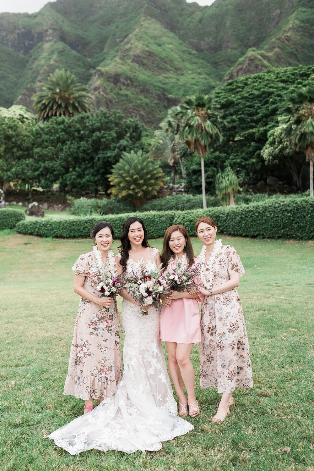 bridesmaids in pink and floral