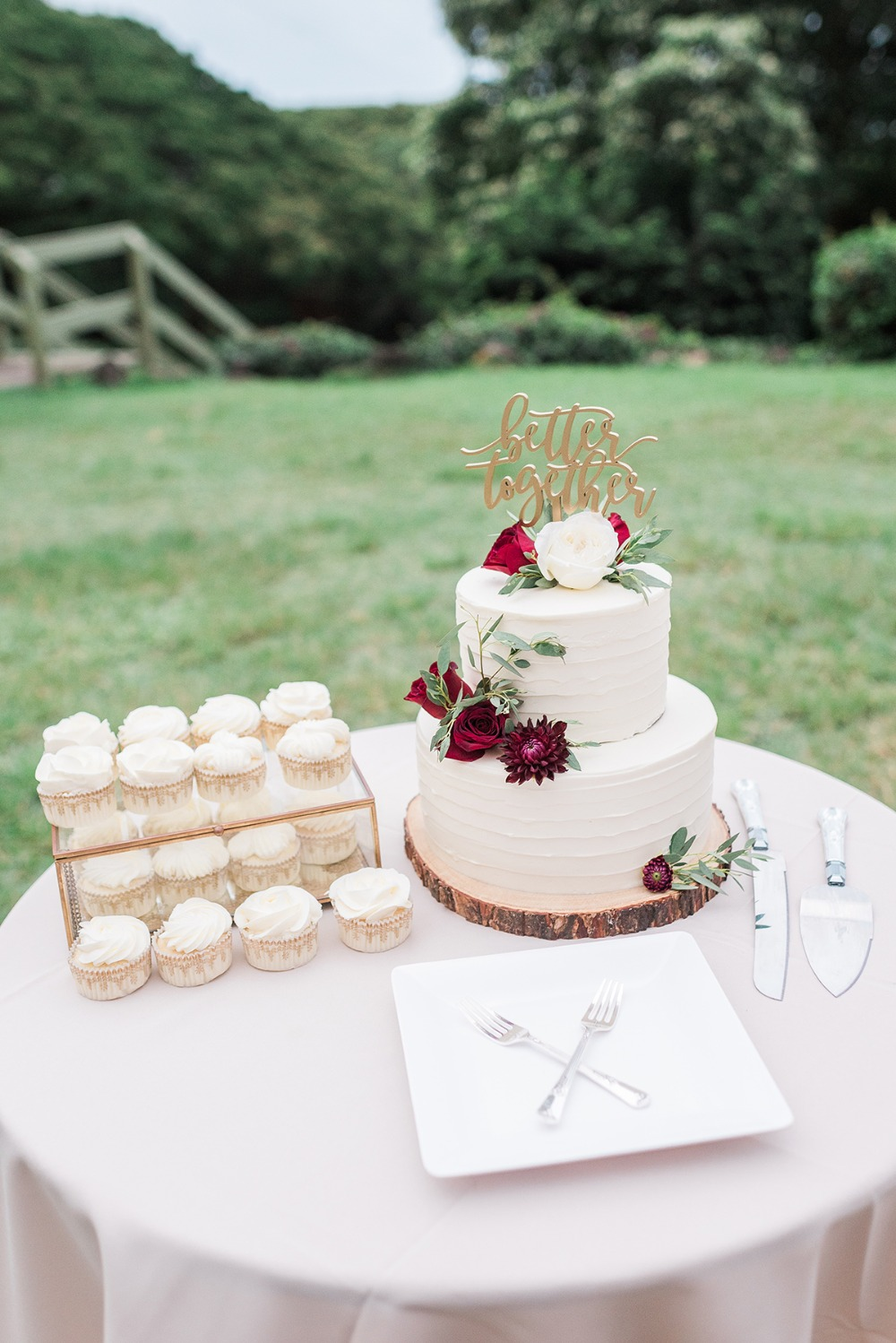 better together wedding cake topper and cupcakes