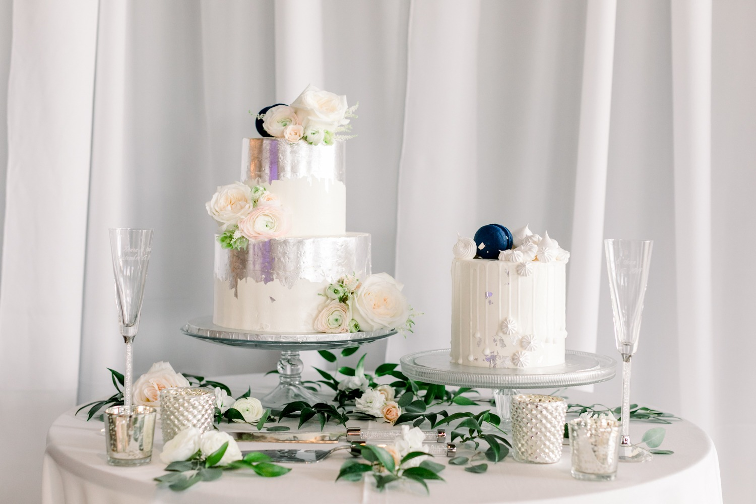 Silver and white wedding cakes