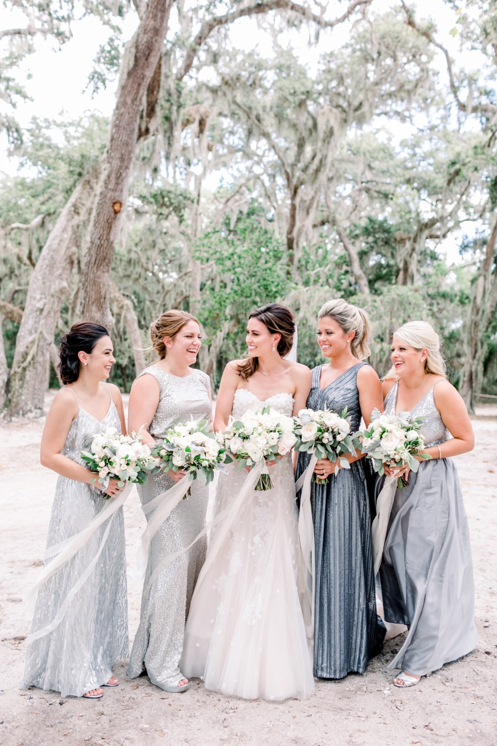Bridesmaids shimmer in silver