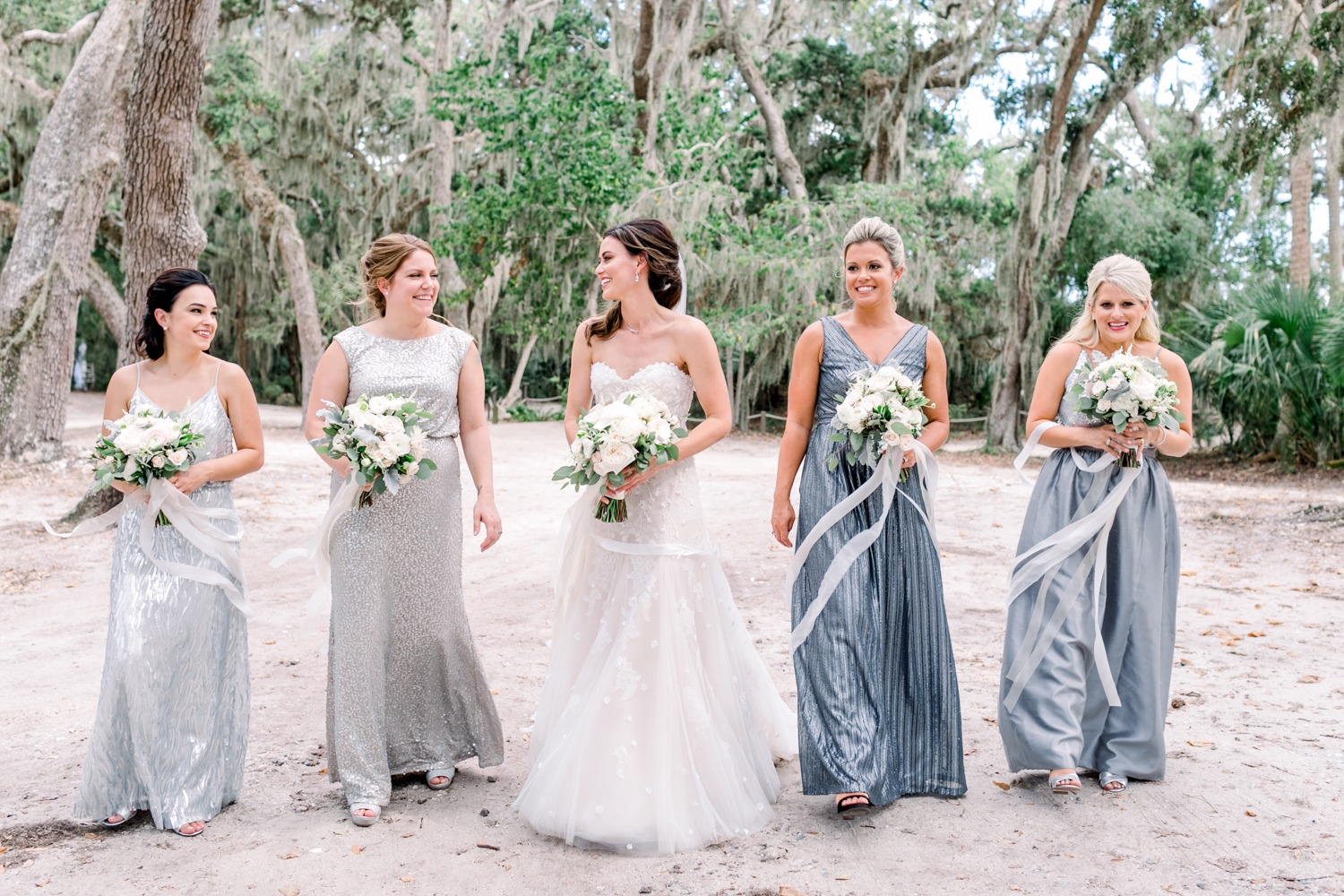 Mismatched silver bridesmaid dresses